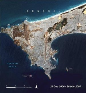 Le Cap Vert as seen from above in UNEP's 2008 Atlas of Our Changing Environment.