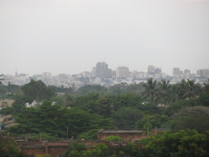 A hazy, humid view of dowtown Dakar from our balcony.